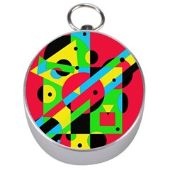 Colorful geometrical abstraction Silver Compasses