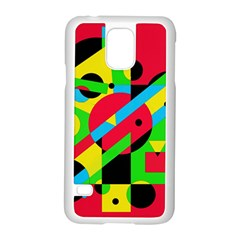Colorful geometrical abstraction Samsung Galaxy S5 Case (White)