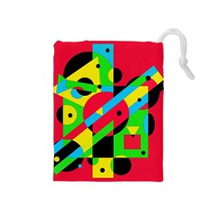 Colorful geometrical abstraction Drawstring Pouches (Medium)