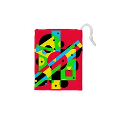 Colorful geometrical abstraction Drawstring Pouches (XS)