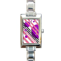 Purple lines and circles Rectangle Italian Charm Watch