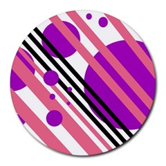 Purple lines and circles Round Mousepads