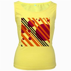 Purple lines and circles Women s Yellow Tank Top