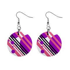 Purple lines and circles Mini Button Earrings