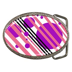 Purple lines and circles Belt Buckles