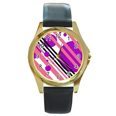 Purple lines and circles Round Gold Metal Watch