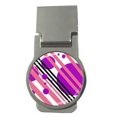 Purple lines and circles Money Clips (Round)