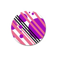 Purple lines and circles Magnet 3  (Round)