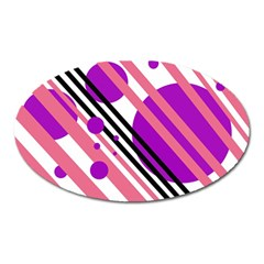Purple lines and circles Oval Magnet