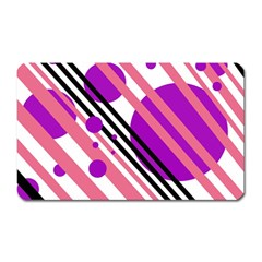 Purple lines and circles Magnet (Rectangular)
