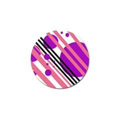 Purple lines and circles Golf Ball Marker (10 pack)