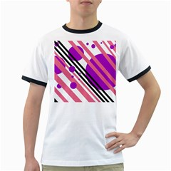 Purple lines and circles Ringer T-Shirts