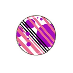 Purple lines and circles Hat Clip Ball Marker