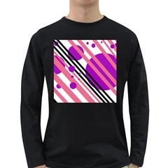 Purple lines and circles Long Sleeve Dark T-Shirts