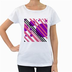 Purple lines and circles Women s Loose-Fit T-Shirt (White)