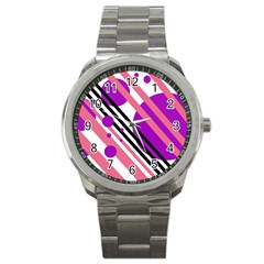 Purple lines and circles Sport Metal Watch