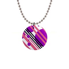 Purple lines and circles Button Necklaces