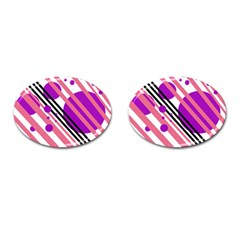 Purple lines and circles Cufflinks (Oval)