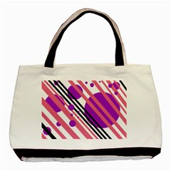 Purple lines and circles Basic Tote Bag