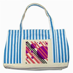 Purple lines and circles Striped Blue Tote Bag
