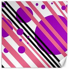 Purple lines and circles Canvas 16  x 16