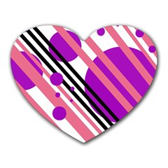 Purple lines and circles Heart Mousepads