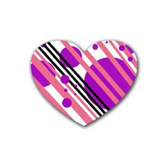 Purple lines and circles Heart Coaster (4 pack)
