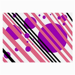 Purple lines and circles Large Glasses Cloth
