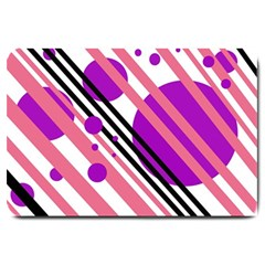 Purple lines and circles Large Doormat