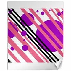Purple lines and circles Canvas 11  x 14