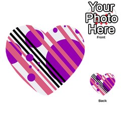 Purple lines and circles Multi-purpose Cards (Heart)