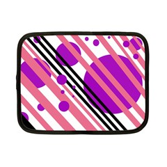 Purple lines and circles Netbook Case (Small)