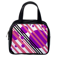 Purple lines and circles Classic Handbags (One Side)