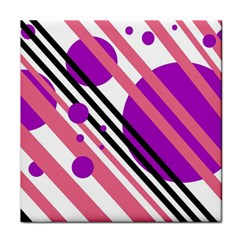 Purple lines and circles Face Towel