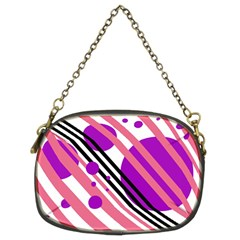 Purple lines and circles Chain Purses (Two Sides)