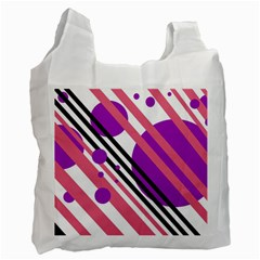 Purple lines and circles Recycle Bag (Two Side)