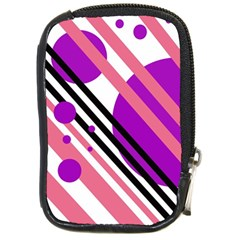 Purple lines and circles Compact Camera Cases