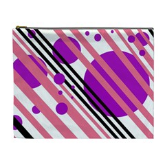 Purple lines and circles Cosmetic Bag (XL)