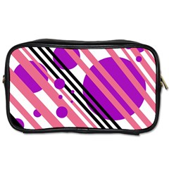 Purple lines and circles Toiletries Bags 2-Side