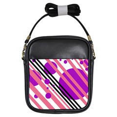 Purple lines and circles Girls Sling Bags
