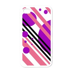 Purple lines and circles Apple iPhone 4 Case (White)