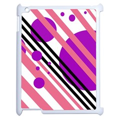 Purple lines and circles Apple iPad 2 Case (White)
