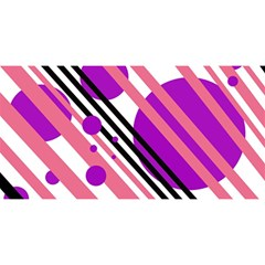 Purple lines and circles YOU ARE INVITED 3D Greeting Card (8x4)