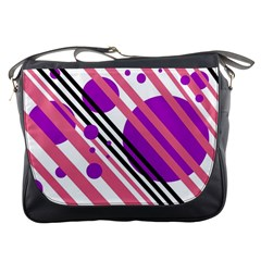 Purple lines and circles Messenger Bags