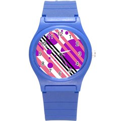 Purple lines and circles Round Plastic Sport Watch (S)