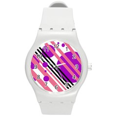 Purple lines and circles Round Plastic Sport Watch (M)