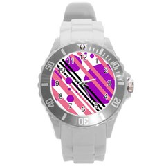 Purple lines and circles Round Plastic Sport Watch (L)