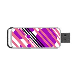 Purple lines and circles Portable USB Flash (Two Sides)
