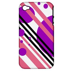 Purple lines and circles Apple iPhone 4/4S Hardshell Case (PC+Silicone)