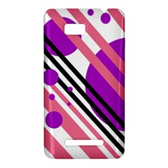 Purple lines and circles HTC One SU T528W Hardshell Case